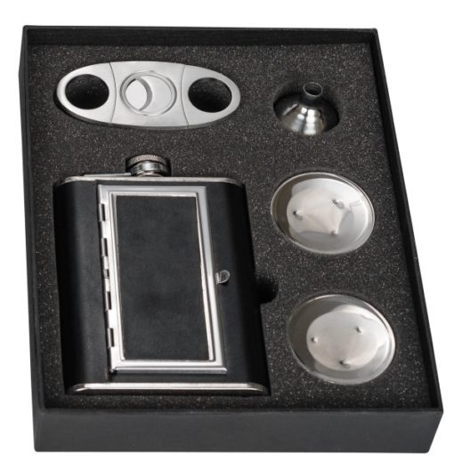 Perfect Pregame Cigarette Flask Gift Set In Box